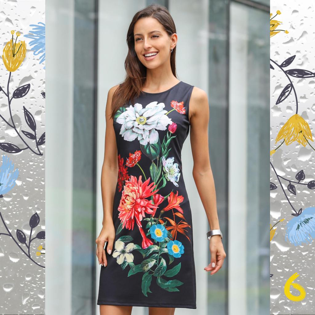 Цветочные рисунки на платьях