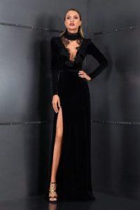 Cristallini черное платье из Velveta