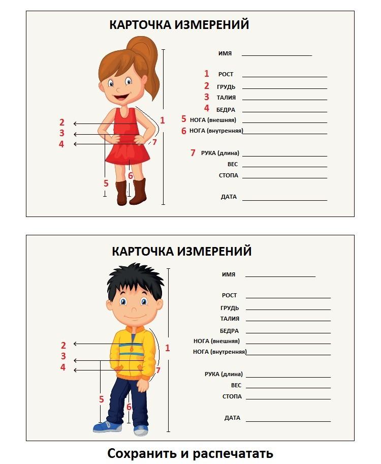 Шитье детской одежды-таблица мерок